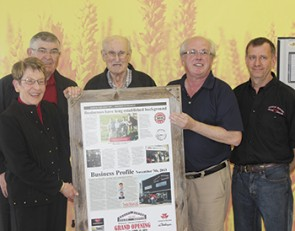 Hoppins family congratulates Trochu Motors with historical tribute