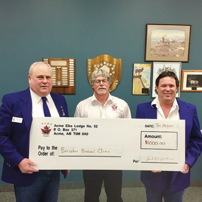 Acme Elks donates $1000 to Beiseker Medical Clinic