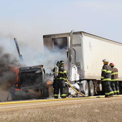 Truck destroyed by fire